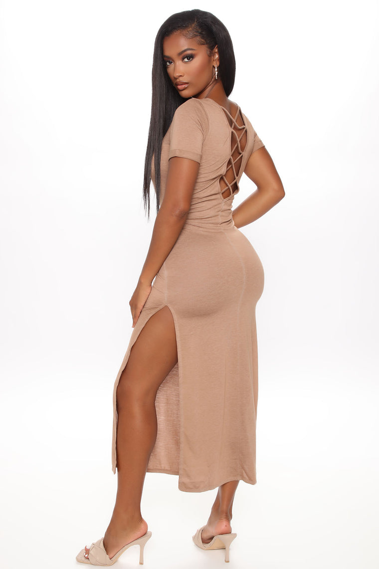 Mellie Mineral Wash Midi Dress - Taupe