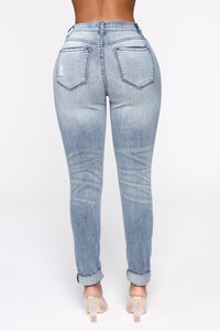Bianca High Rise Distressed Skinny Jeans - Medium Blue Wash