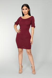 Drea Lace Up Dress - Burgundy