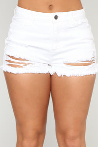 Cruising On Distressed Shorts - White
