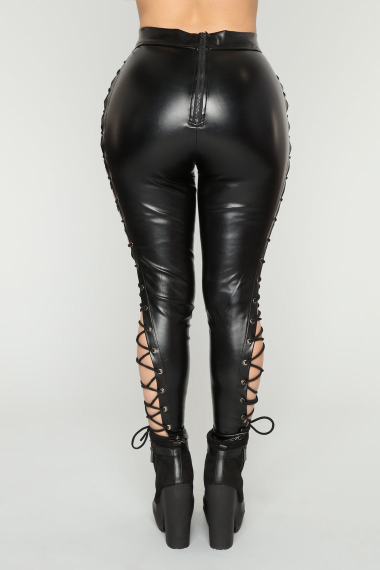 Make You Go Crazy Lace Up Pants - Black