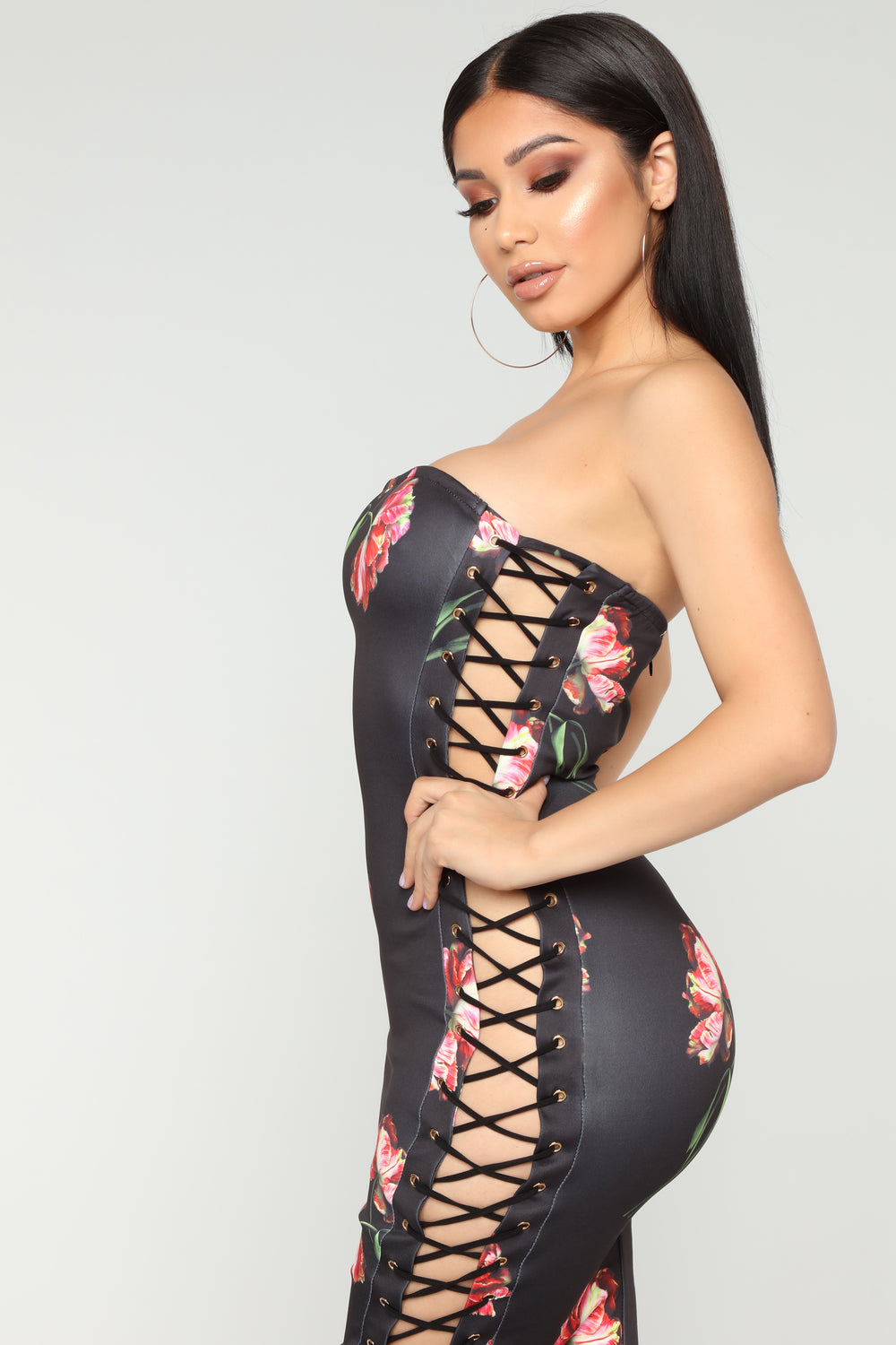 Beautiful Rose Lace Up Dress - Black