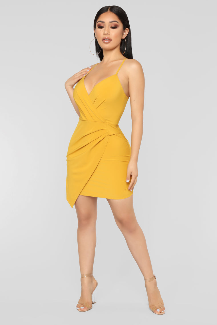 I Want You Back Surplice Dress - Mustard
