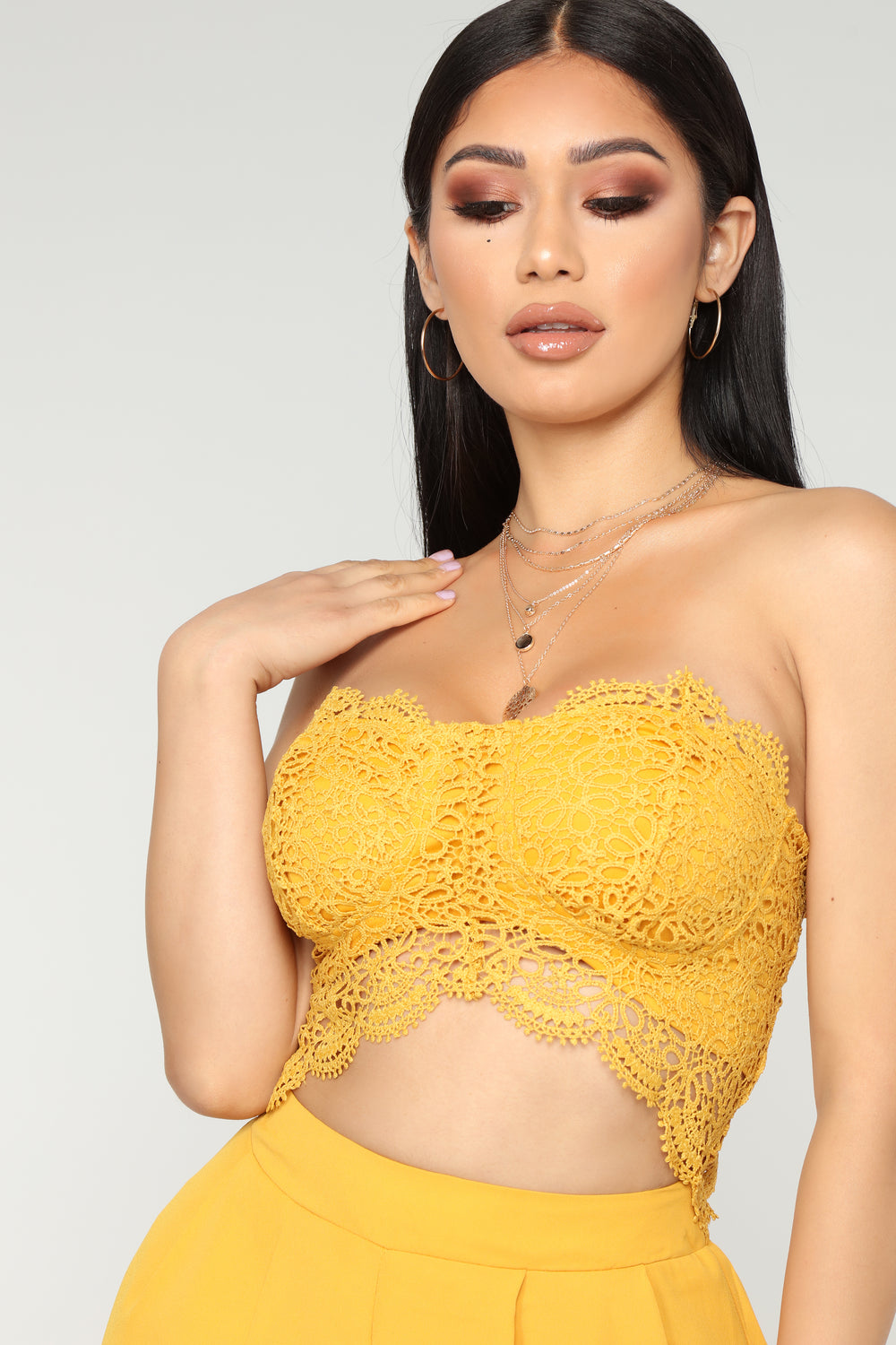 Love Quote Lace Jumpsuit - Mustard