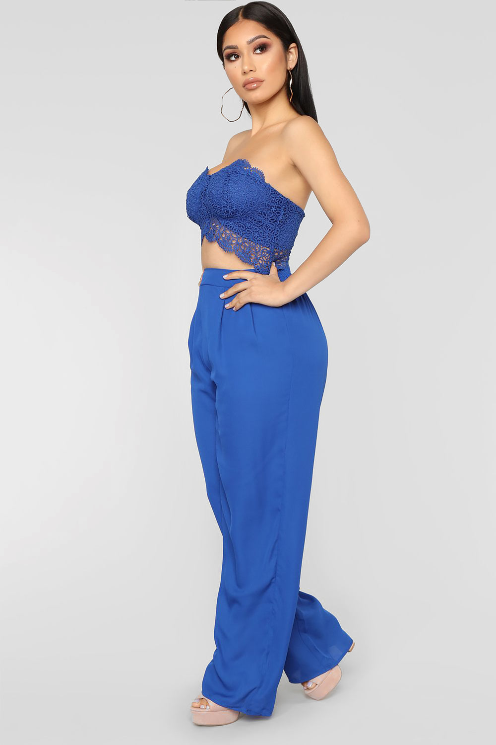 Love Quote Lace Jumpsuit - Royal