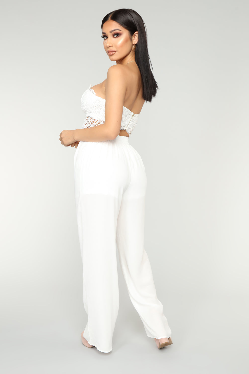Love Quote Lace Jumpsuit - White