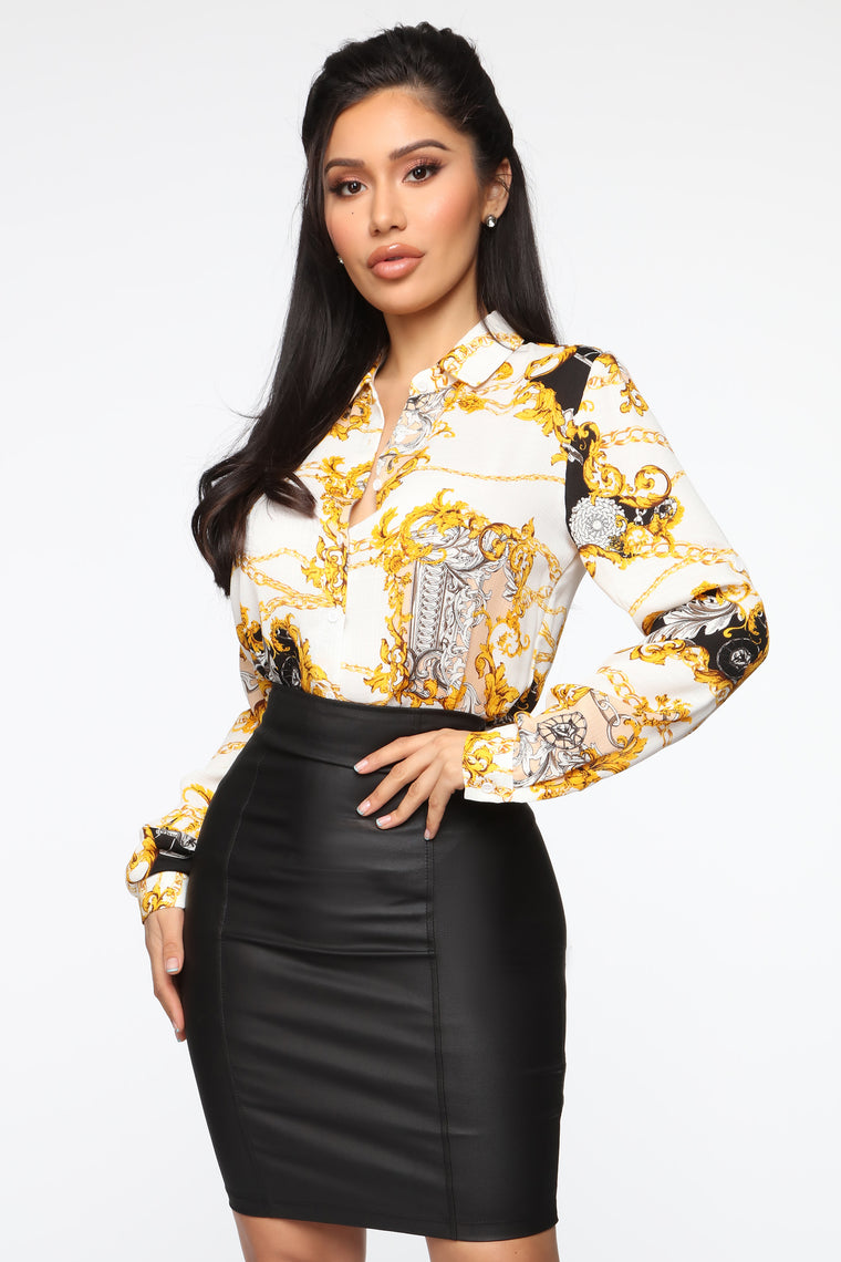 Chain On Me Top - White/Multi