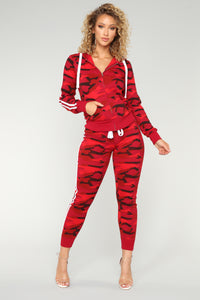 Camo Inside With Me Jogger - Red