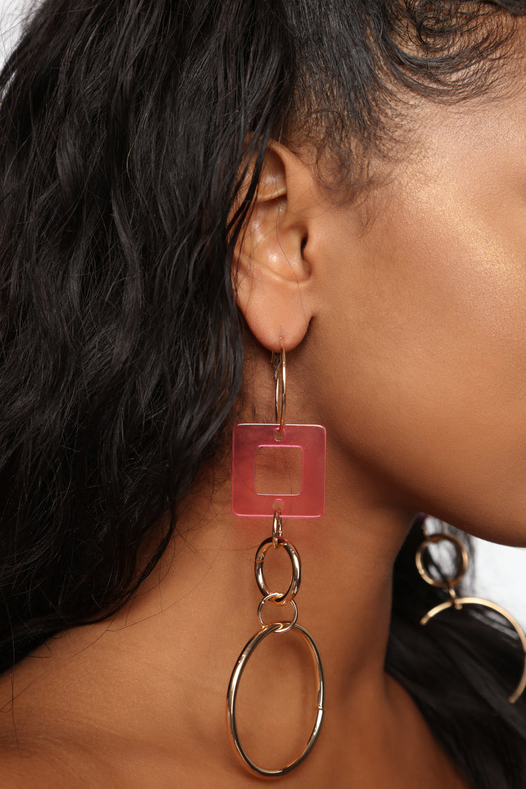 Proceed With Caution Earrings - Gold/Pink