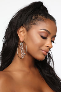 Spoiled Type Hoop Earrings - Gold/Clear Angle 3