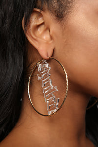 Spoiled Type Hoop Earrings - Gold/Clear Angle 2