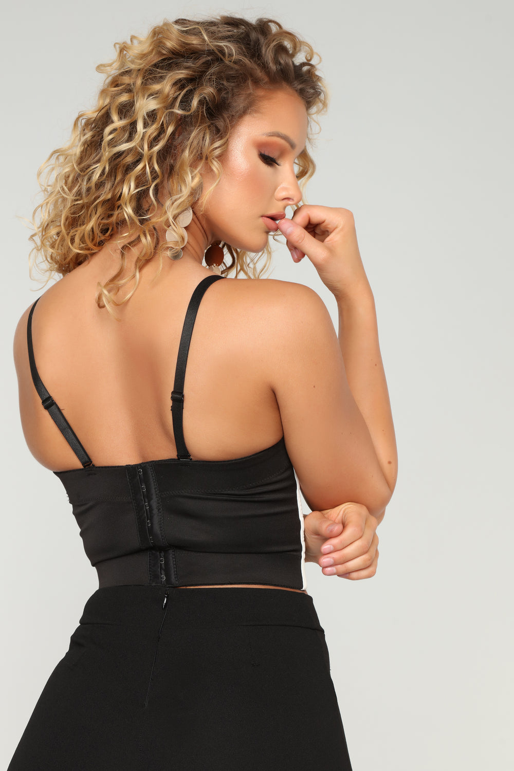 Let Me Think About It Bustier Top - Black/White