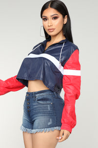 Weekend Update Cropped Jacket - Navy/Red