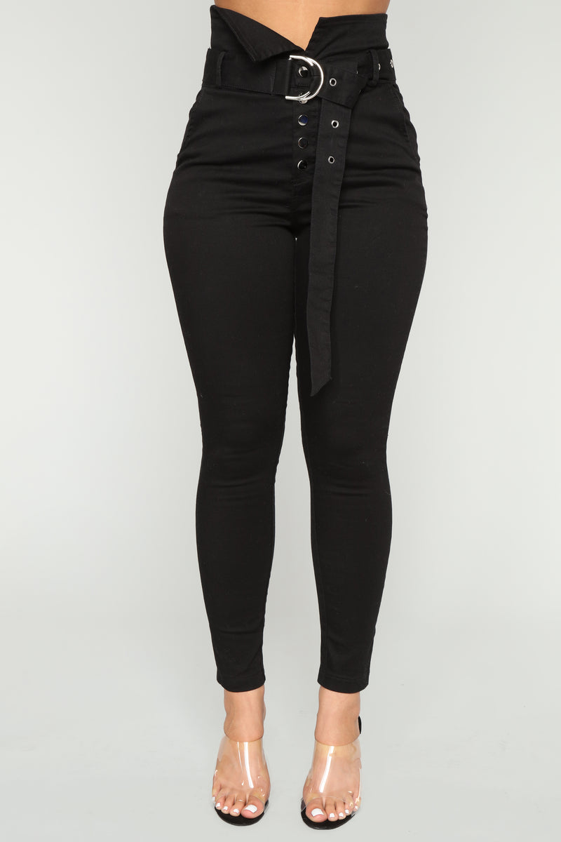 Make It Obvious Belted Skinny Jeans - Black