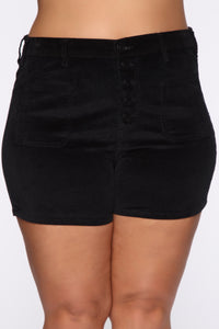 Got Me Exposed Button Corduroy Shorts - Black