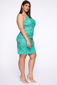 Petal Pusher Crochet Midi Dress - Jade