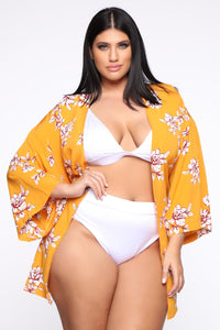 Beautiful Creation Kimono - Mustard