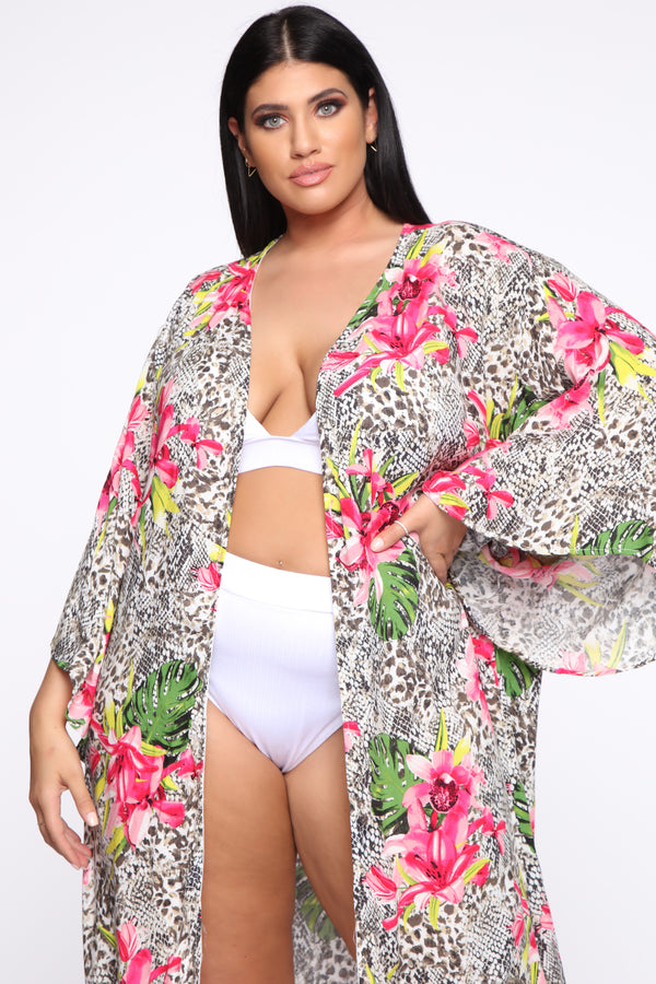 0122023a4a Don't Mean To Kimono - Pink/Combo