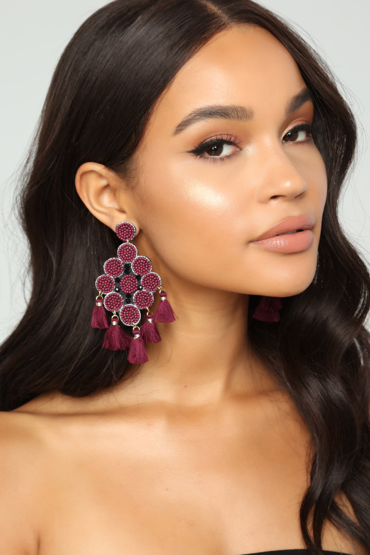 The One To Bead Earrings - Burgundy