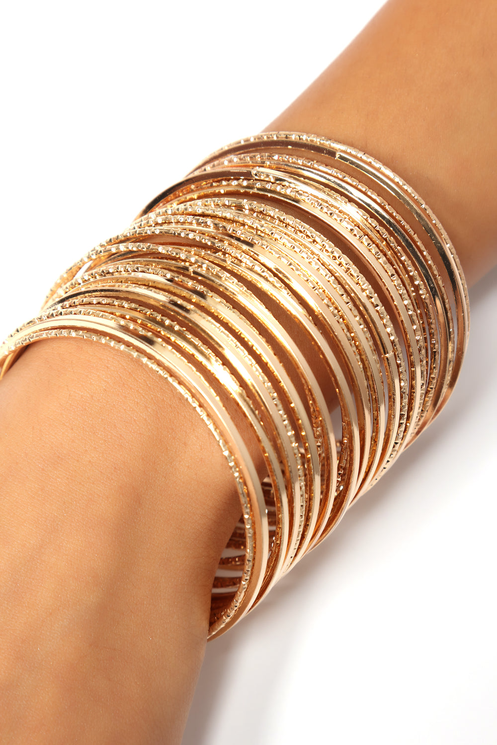 Power With Thin Bangle Set - Gold