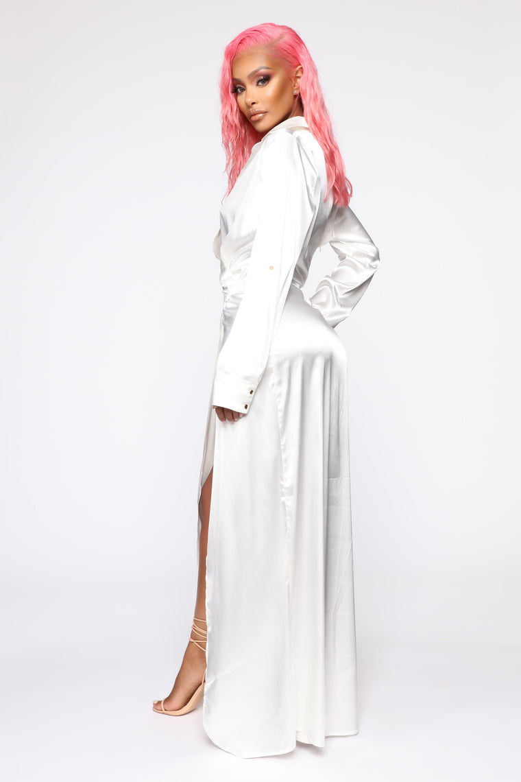 Excuse Me Satin Maxi Dress - Off White