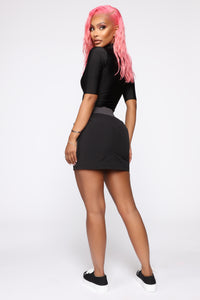 Keep The Change Cargo Mini Skirt - Black
