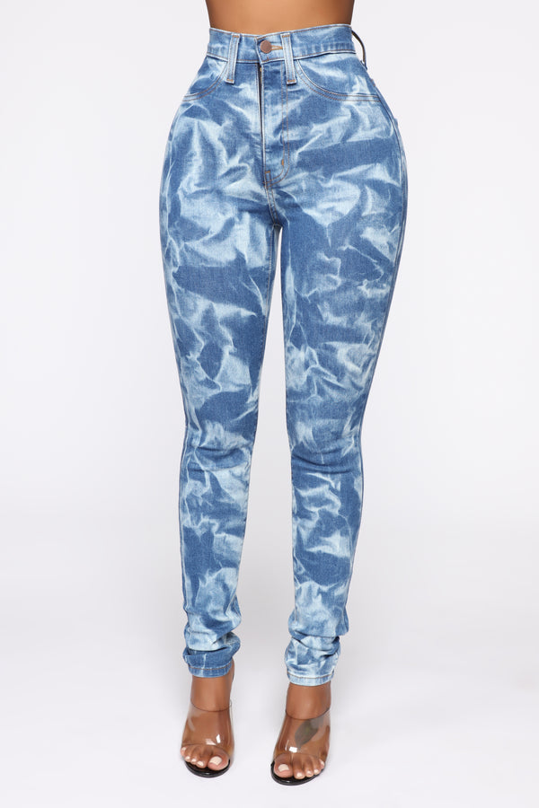 08a042fb6bc110 Trippin Over You High Waisted Jeans - Acid Wash Blue