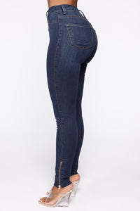 Got Me Exposed Skinny Jeans - Dark Wash Angle 1