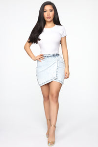 Too Live Mini Denim Asymmetrical Skirt - Acid Wash Blue Angle 2