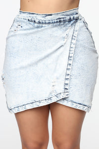 Too Live Mini Denim Asymmetrical Skirt - Acid Wash Blue Angle 1