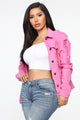 Show Off Denim Jacket - Pink