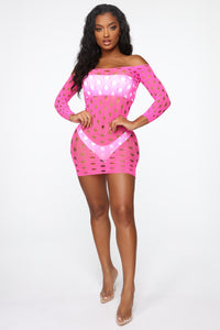 Spring Break Forever Mesh Swim Cover Up Dress - Hot Pink