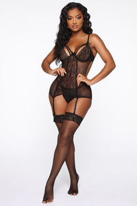 Yours Till Midnight Chemise Set - Black