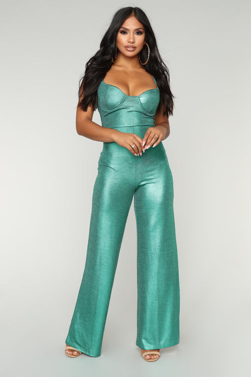 I'm Back Metallic Jumpsuit - Green