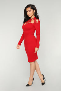 Think Again Midi Dress - Red