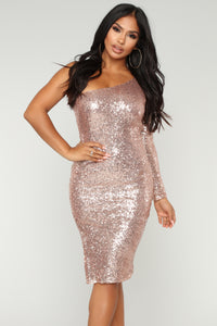 Fiona Sequin Dress - Champagne Angle 2