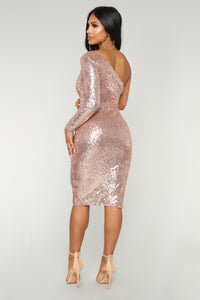 Fiona Sequin Dress - Champagne Angle 4