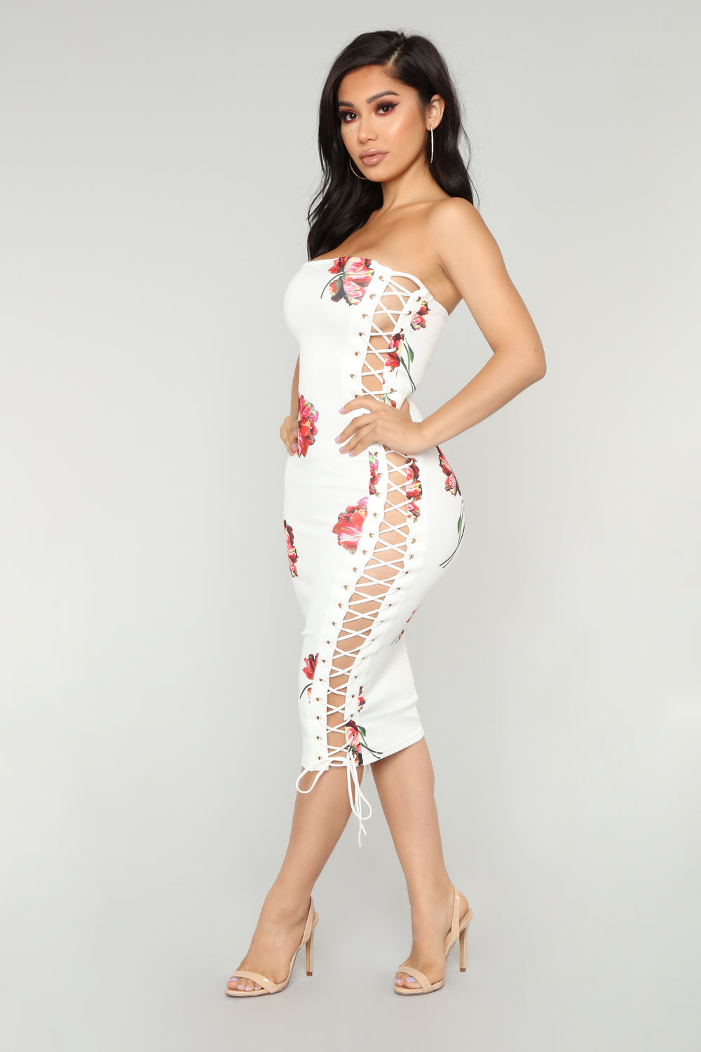 Beautiful Rose Lace Up Dress - White
