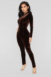 Chocolate Dream Velvet Jumpsuit - Brown