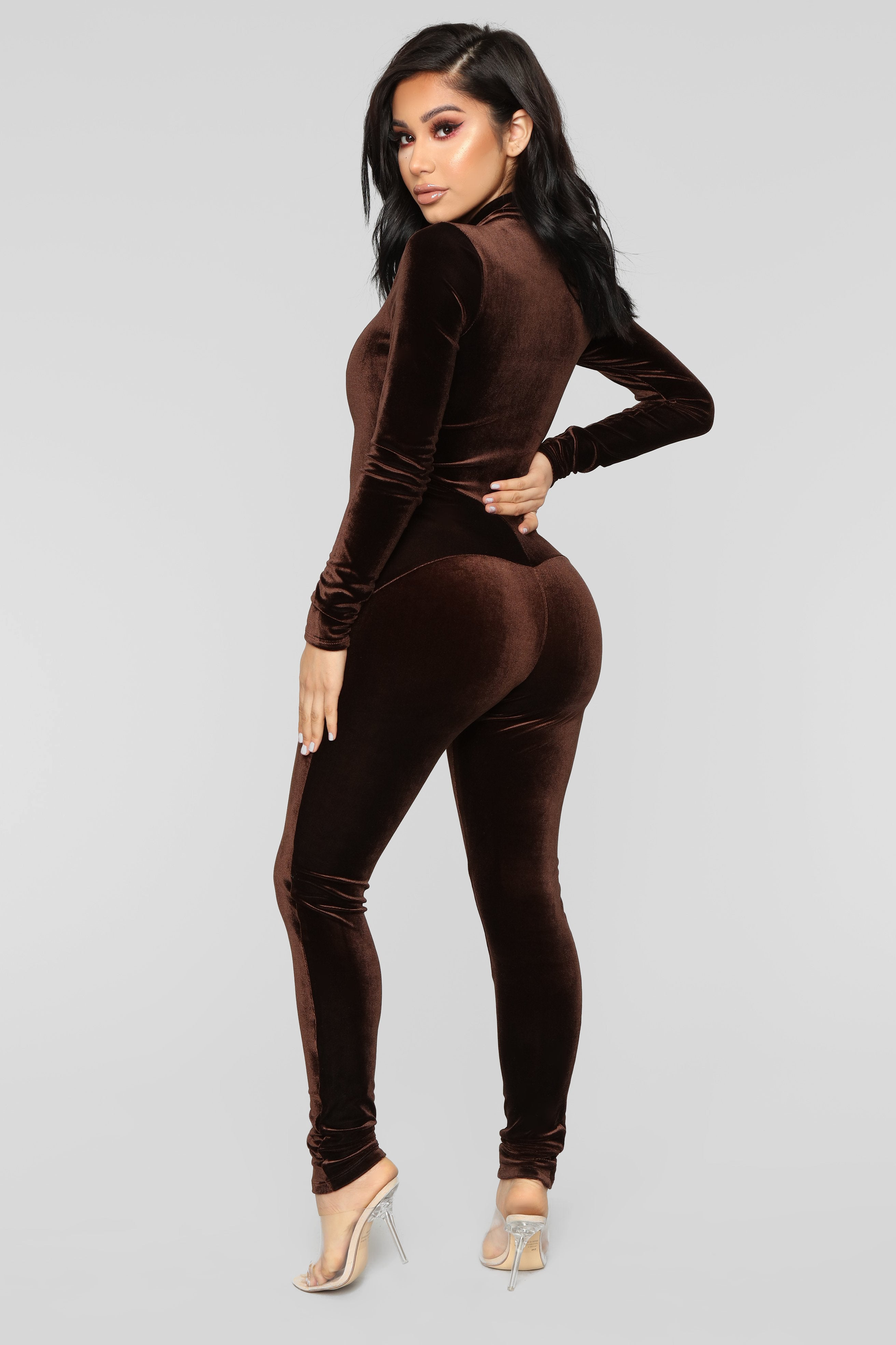5a969ef382 Chocolate Dream Velvet Jumpsuit - Brown
