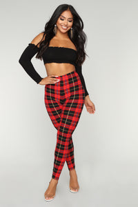 You Got Plaid Print Leggings - Red/Black