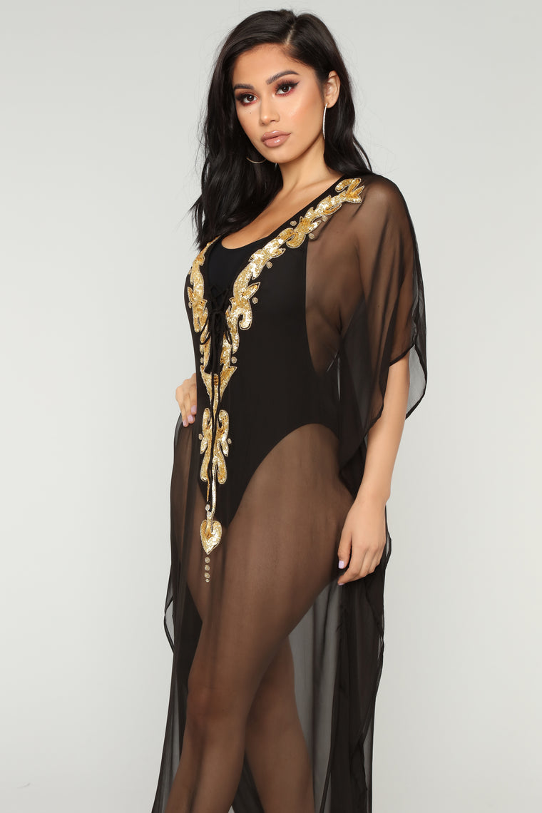 Instant Getaway Cover Up Dress - Black