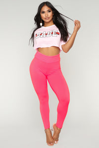 Simple Life Leggings - Neon Pink