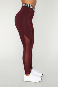 Love Me Foreva Active Leggings - Maroon