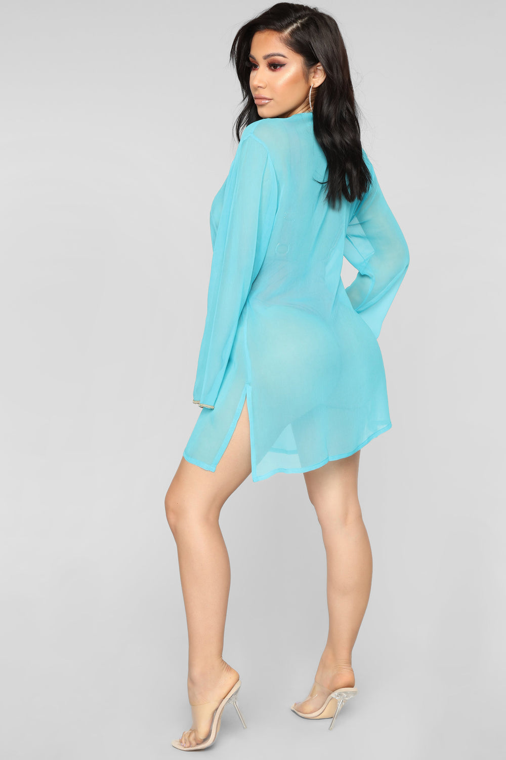 Seashore Waves Coverup Tunic - Aqua