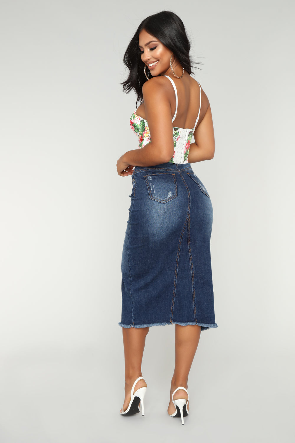 Lena Denim Skirt - Medium Blue