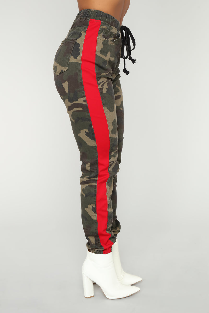 Cadet Kasey Cargo Joggers - Olive/Red