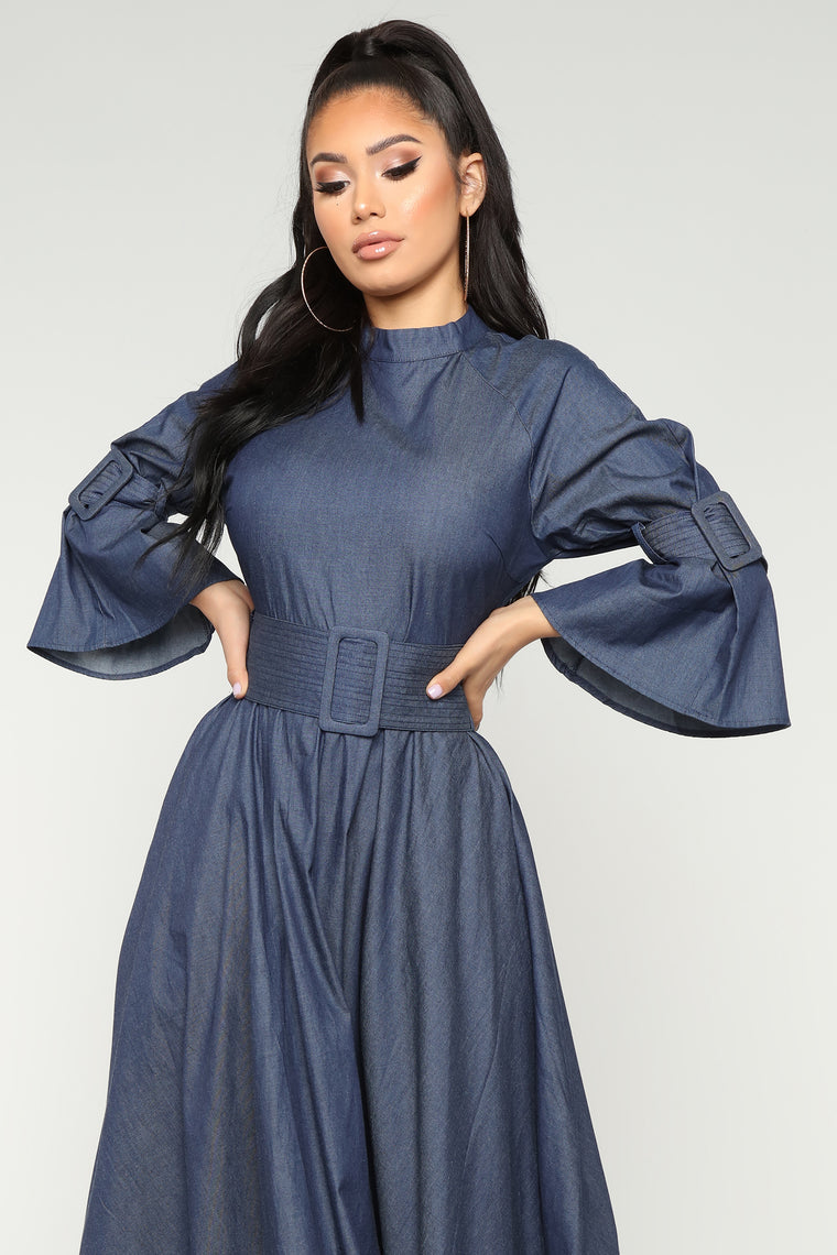 Something Up My Sleeve Dress - Dark Denim