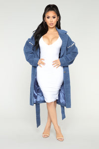 Pearl Talk Belted Coat - Blue