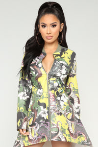Eyes On Me High Low Bomber - Olive/combo